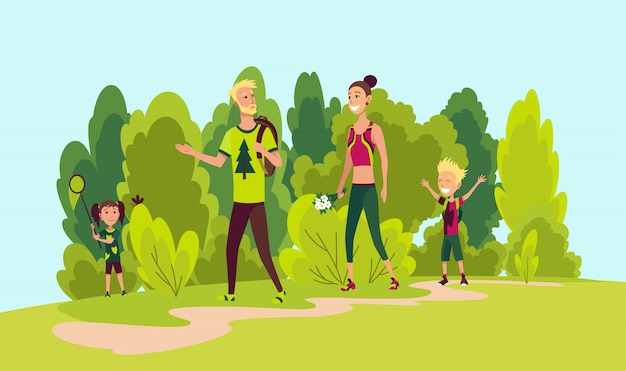 Wandelen en gelukkige familie. zomer trekking buiten. avontuur vector concept. familie trekking