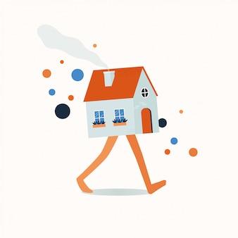 Wandelen huis onroerend goed markt. illustratie.