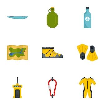 Wandelen icon set. platte set van 9 hiking pictogrammen