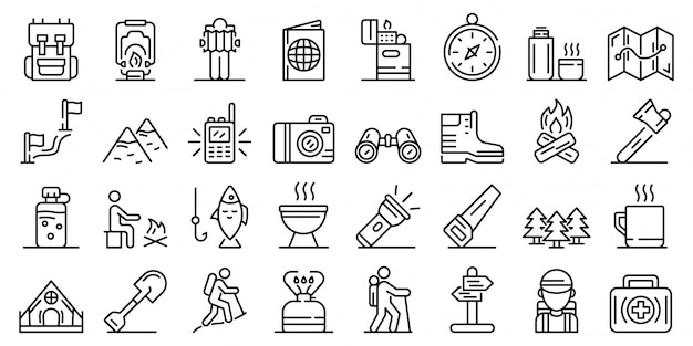 Wandelen iconen set, kaderstijl