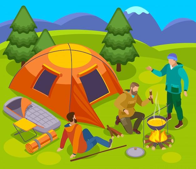 Wandelen isometrische samenstelling met set tent kampvuur en groep mannelijke toeristen in wilde natuur landschap