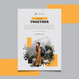 Wandelen levensgetrouwe poster sjabloon