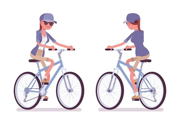 Wandelen vrouw rijden fiets