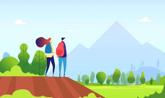 Wandelend paar. jonge vrouwelijke wandeling in de natuur landschap. man en vrouwentoeristen, wandelaars in de zomer in openlucht beeldverhaal