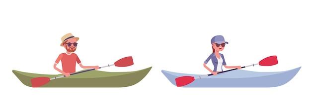 Wandelende man, vrouw in boot