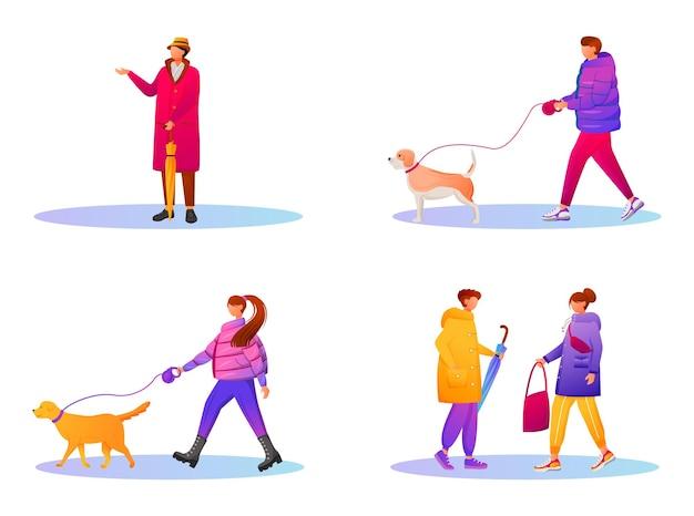 Wandelende mensen in kleurovergang jassen egale kleur gezichtsloze tekenset