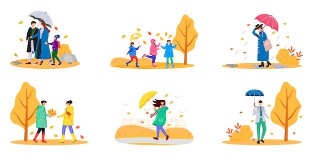 Wandelende mensen met paraplu's egale kleur anonieme tekenset