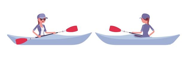 Wandelende vrouw in een boot