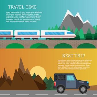 Wandeling en openlucht vastgestelde vlakke het kamperen reis vectorillustratie. tekstsjabloon