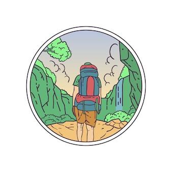 Wandeling naar de natuur monoline-badge