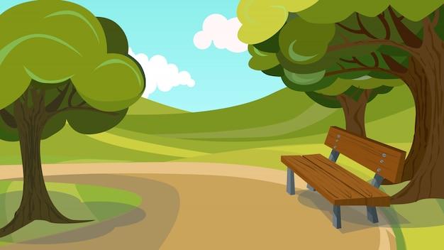 Wandelpad houten bank platteland landschap