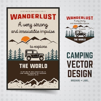 Wanderlust camping illustratie