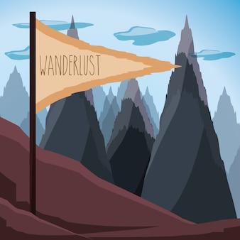 Wanderlustaventure met landschap en ontdekkingsaardaard