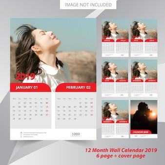 2019 kalender met bloemenelementen vector gratis download. Black Bedroom Furniture Sets. Home Design Ideas