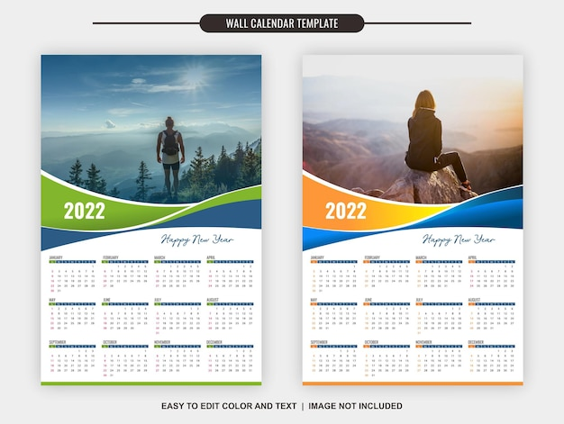 Wandkalender 2022 sjabloon 12 maanden met twee verschillende kleuren