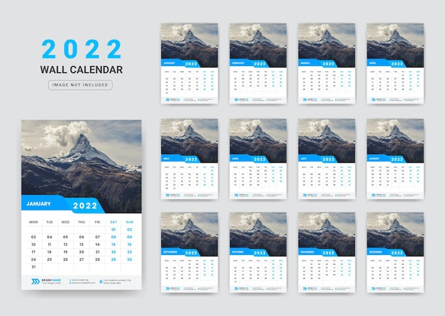 Wandkalender 2022 zakelijk nieuwjaar wandkalender 2022 sjabloon