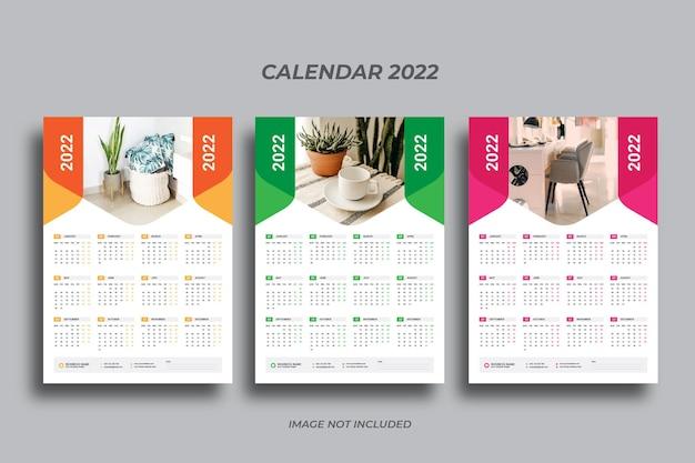 Wandkalender met één pagina 2022