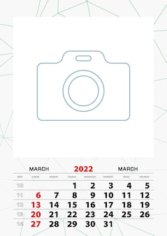 Wandkalender planner sjabloon voor maart 2022, week begint op zondag.