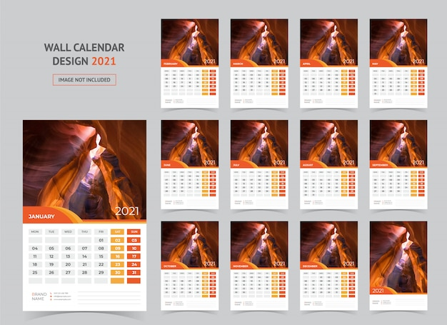 Wandkalender voor 2021. week begint op maandag