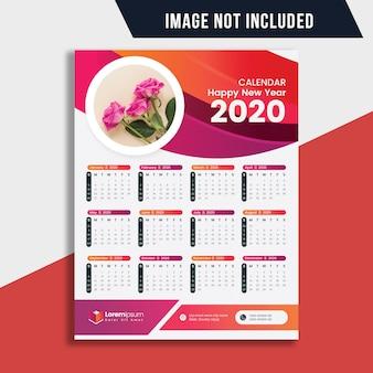 Wandkalender voor één pagina 2020