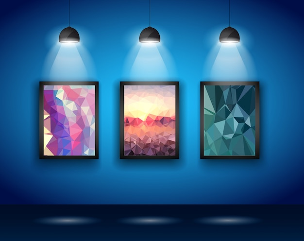 Wandlampen met low poly arts
