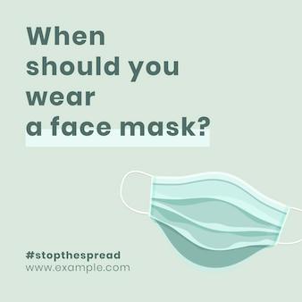 Wanneer een masker dragen aanbeveling covid-19 bewustzijn