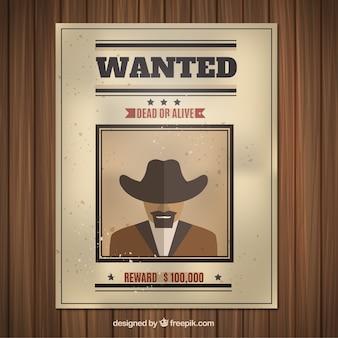 Wanted poster met crimineel in plat ontwerp