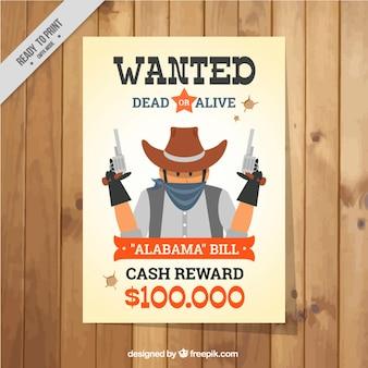 Wanted poster met gevaarlijke crimineel in plat design