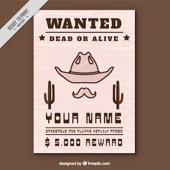 Wanted poster met hoed en snor
