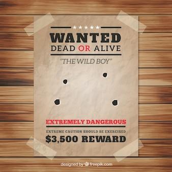 Wanted poster met vier kogelgaten