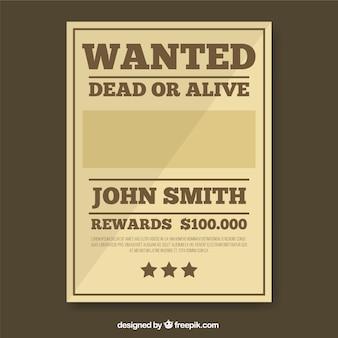 Wanted poster sjabloon in bruine tinten