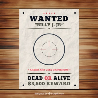 Wanted poster sjabloon met bullseye