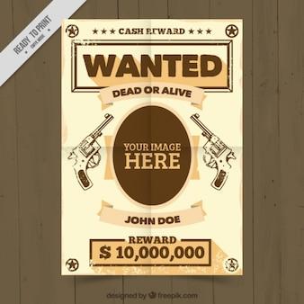 Wanted poster sjabloon met handgungs tekeningen