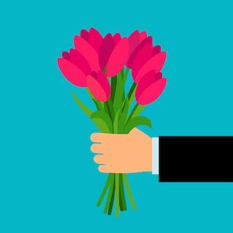 Wapen die kleurrijk boeket voor vrouw houden