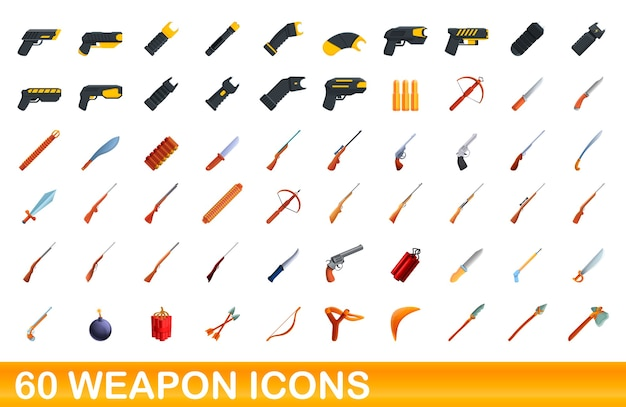 Wapen pictogrammen instellen. cartoon afbeelding van wapen pictogrammen instellen op een witte achtergrond