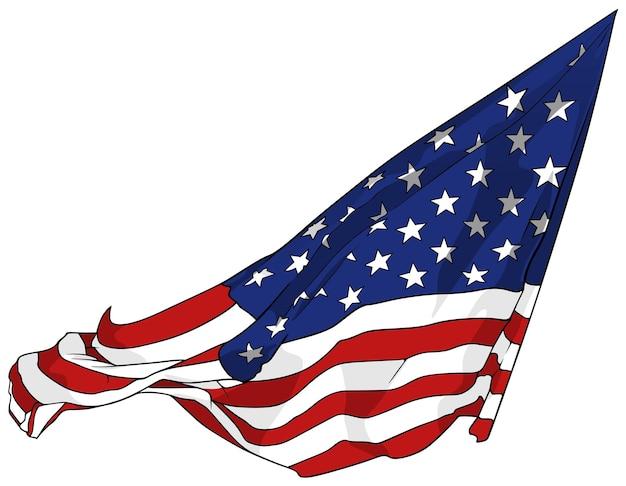Wapperende amerikaanse vlag geïsoleerd op witte achtergrond