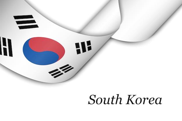 Wapperende lint met vlag van zuid-korea.