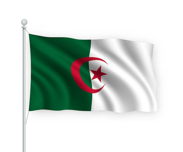 Wapperende vlag algerije op vlaggenmast geïsoleerd op wit