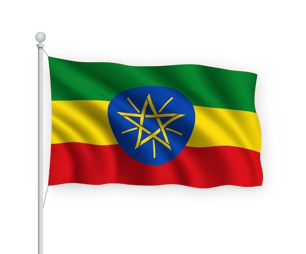 Wapperende vlag ethiopië op vlaggenmast geïsoleerd op wit