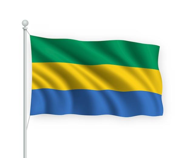 Wapperende vlag gabon op vlaggenmast geïsoleerd op wit