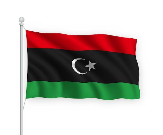 Wapperende vlag libië op vlaggenmast geïsoleerd op wit