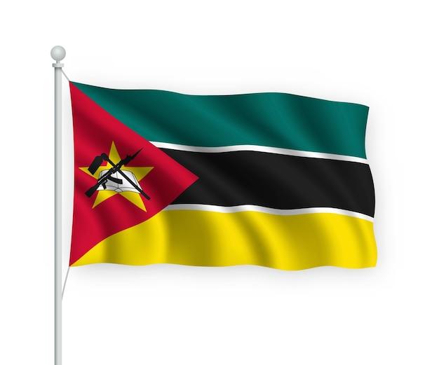 Wapperende vlag mozambique op vlaggenmast geïsoleerd op wit