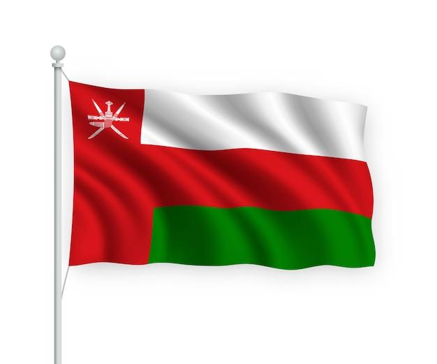 Wapperende vlag oman op vlaggenmast geïsoleerd op wit
