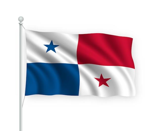 Wapperende vlag panama op vlaggenmast geïsoleerd op wit