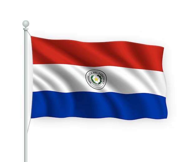 Wapperende vlag paraguay op vlaggenmast geïsoleerd op wit