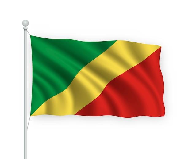 Wapperende vlag republiek congo op vlaggenmast geïsoleerd op wit