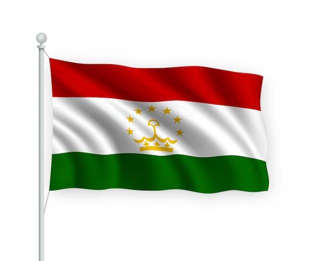 Wapperende vlag tadzjikistan op vlaggenmast geïsoleerd op wit