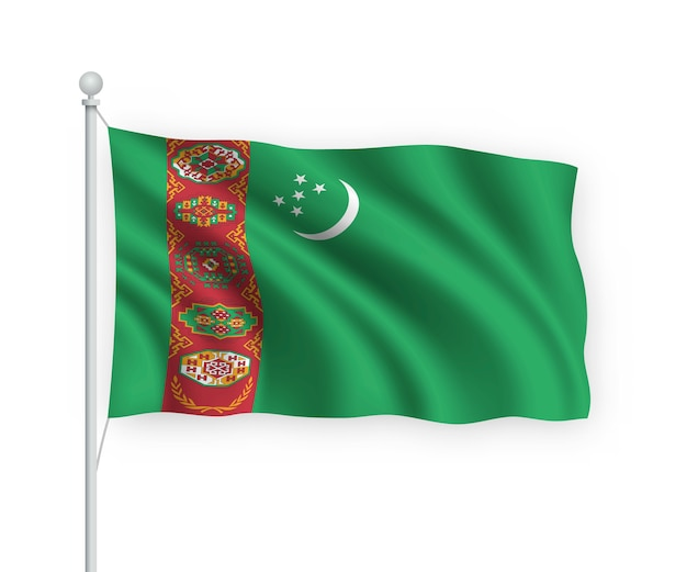 Wapperende vlag turkmenistan op vlaggenmast geïsoleerd op wit