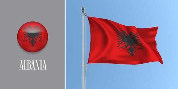 Wapperende vlag van albanië op vlaggenmast en ronde pictogram illustratie