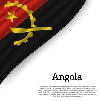 Wapperende vlag van angola op wit
